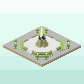 Rizal park des philippines en isométrique