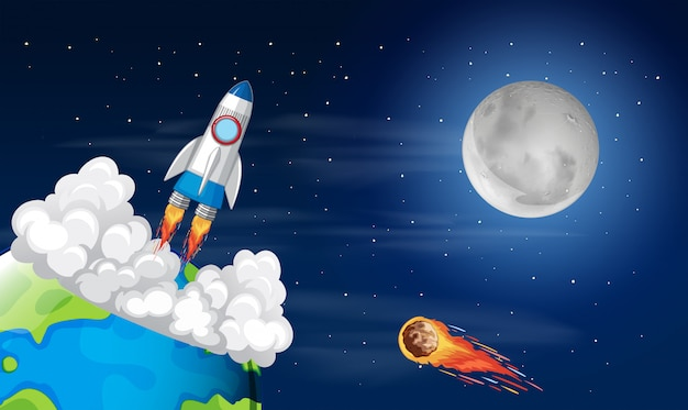 Roacket lancement de la terre