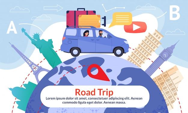 Road trip avec terre et point d'intérêt ad