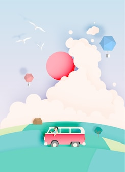 Road trip avec voiture et palette de couleurs pastel naturel backgroud papier coupé style vector illust