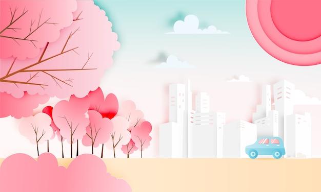 Road trip avec voiture en saison printanière et papier de fond de couleurs pastel naturel coupé style illustration vectorielle