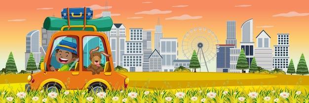 Road trip en voiture avec scène urbaine
