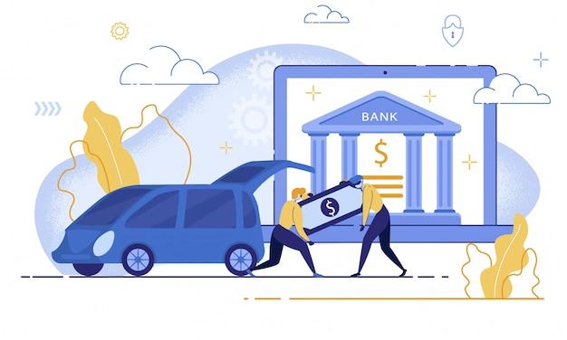 Robbing en ligne compte bancaire plat concept