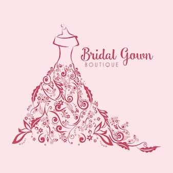 Robe boutique logo floral mariée modèle illustration conception vecteur