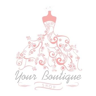 Robe boutique mariage mariée logo modèle illustration design floral vector