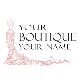 Robe boutique mariée logo modèle illustration conception vectorielle