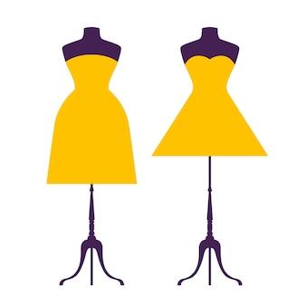 Robe de dessin animé de fond plat silhouette pour une utilisation dans la conception.