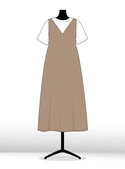 Robe d'illustration sur un modèle de croquis plat de mode mannequin
