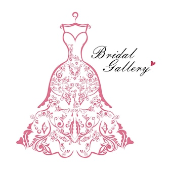 Robe mariée boutique logo mariée modèle vector illustration conception