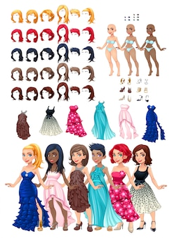 Robes et coiffures jeu illustration vectorielle objets isolés 6 coiffures avec 5 couleurs chacune 6 robes différentes 5 couleurs des yeux 6 chaussures 3 couleurs de la peau