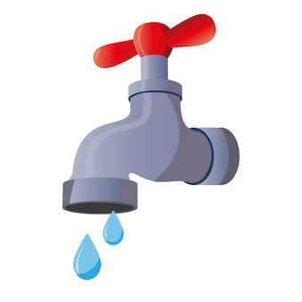Robinet d'eau avec une goutte tombante. isolé sur fond blanc vieille valve classique.