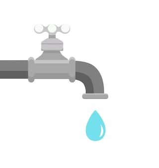 Robinet et une goutte d'eau qui tombe. robinet plat avec liquide.