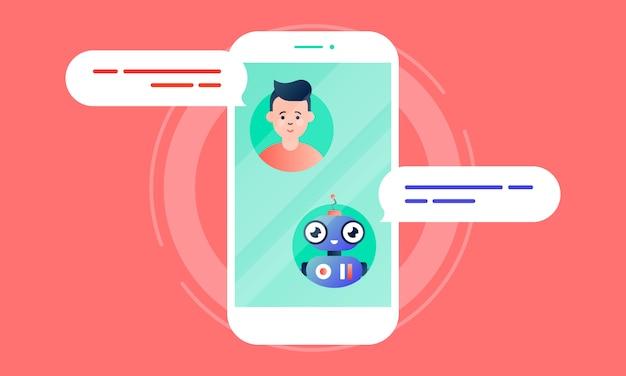 Robo advisor aide son client en discutant avec lui via le smartphone