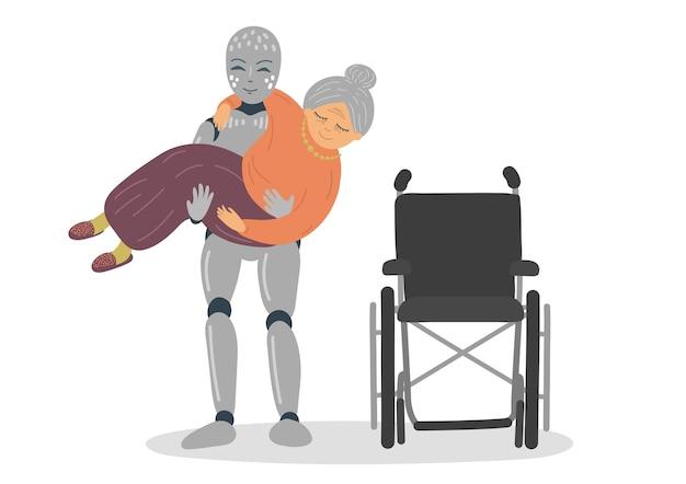 Robot aidant la femme âgée à s'asseoir en fauteuil roulant. robot transportant une femme âgée.