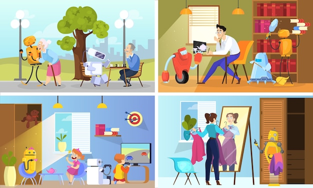 Robot aider les gens à définir. concept de service automatique.