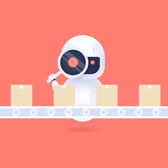 Robot amical blanc regardant à travers la loupe