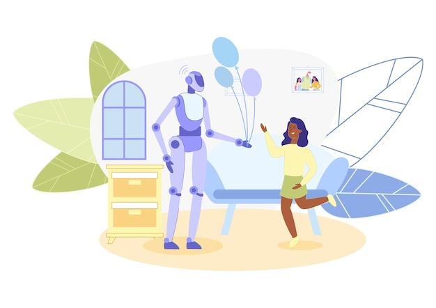 Robot android, travaillant comme animateur pendant les vacances