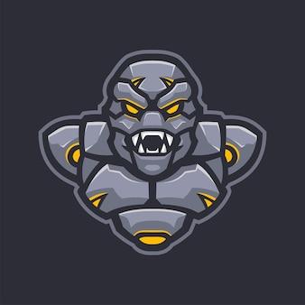 Robot armée mascotte e-sports logo caractère