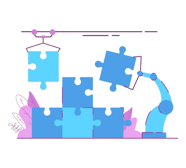 Robot d'assemblage de puzzle industriel. usine moderne main de robot tient le puzzle trouver une solution.