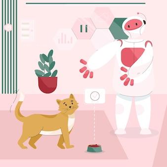 Un robot assistant nourrit un chat dans une chambre, un animal domestique vivant à la maison