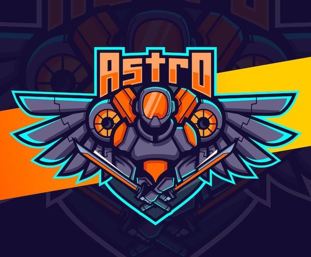 Robot astronaute avec création de logo esport mascotte ailes