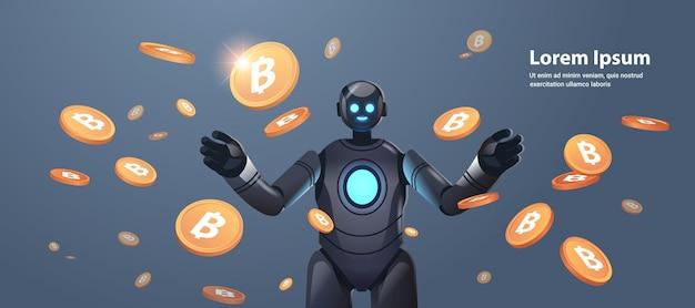 Robot avec bitcoins crypto monnaie web argent exploitation minière revenu passif gains intelligence artificielle