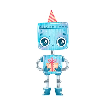 Robot bleu de fête d'anniversaire de dessin animé mignon isolé