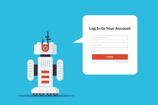 Robot avec bulle de dialogue pour formulaire de connexion