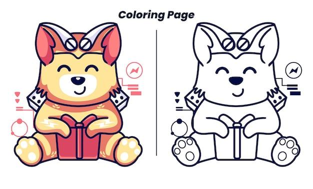 Un robot chat ouvre des cadeaux avec des pages à colorier
