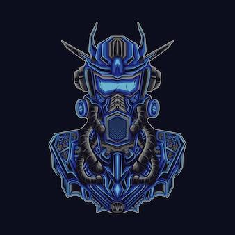 Robot Chevalier Bleu Vecteur Premium