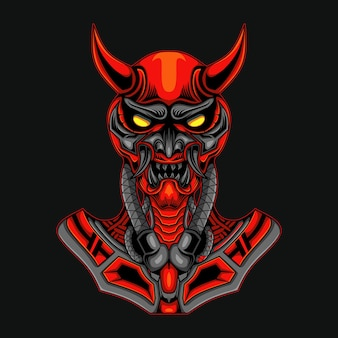 Robot crâne démon rouge