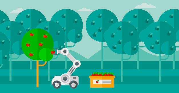 Robot cueillant des pommes au moment de la récolte.