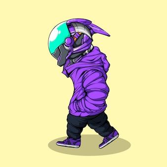 Robot cyberpunk marchant avec capuche violet