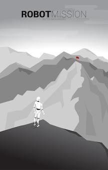 Robot debout et vue sur le drapeau au sommet de la montagne. robot de bannière et vision et mission de l'intelligence artificielle.