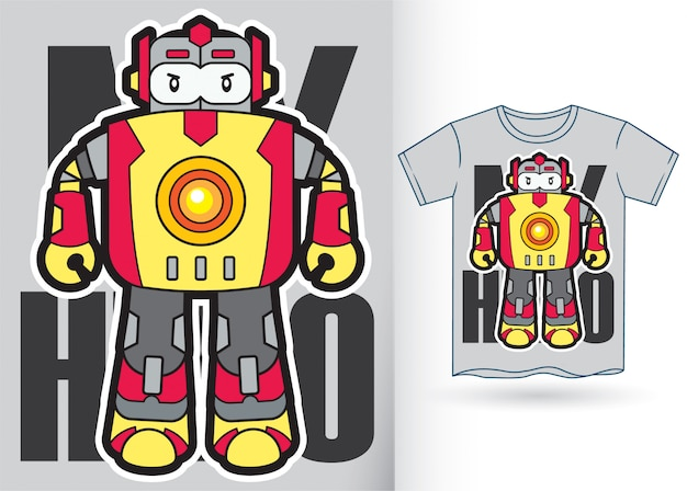 Robot de dessin animé pour tshirt
