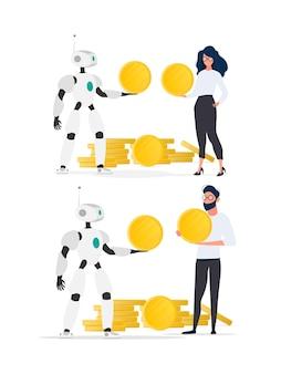 Le robot donne une pièce d'or à un homme d'affaires. le robot apporte des bénéfices à l'entreprise. le concept de gains, de profit et de richesse. isolé. vecteur.