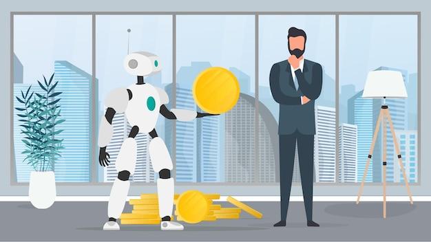 Le robot donne une pièce d'or à un homme d'affaires. le robot apporte des bénéfices à l'entreprise. le concept de gains, de profit et de richesse. vecteur.