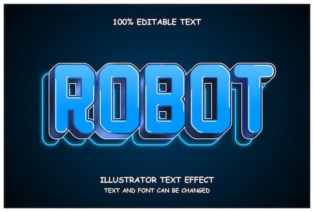 Robot, effet de texte modifiable 3d style néon moderne