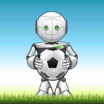 Robot enfant drôle avec ballon de foot