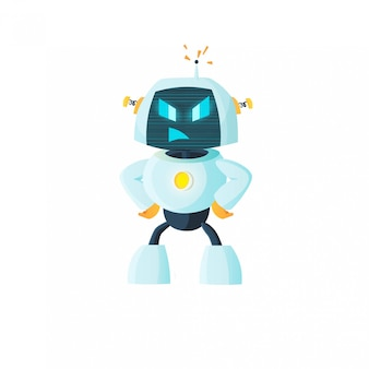 Robot est en colère, autocollant d'émotion. intelligence artificielle, avenir, apprentissage automatique.