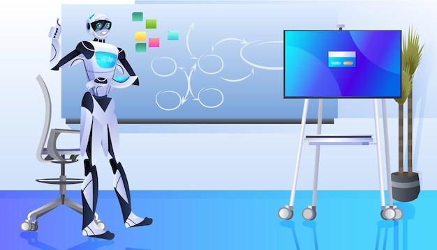 Robot faisant présentation homme d'affaires robotique travaillant au bureau concept de technologie d'intelligence artificielle horizontale pleine longueur illustration vectorielle
