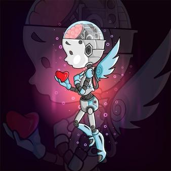 Le robot féerique tient la conception du logo esport coeur de l'illustration