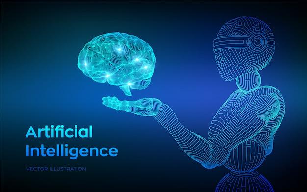 Robot filaire. ai intelligence artificielle sous forme de cyborg ou de bot. cerveau dans la main robotique. cerveau numérique.