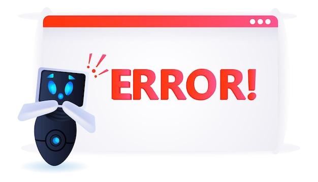 Robot frustré avec des points d'exclamation erreur échecs d'intelligence artificielle concept surchargé illustration vectorielle horizontale pleine longueur