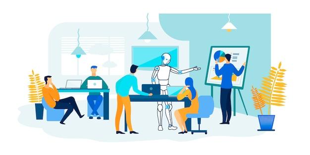Robot et les gens travaillent ensemble