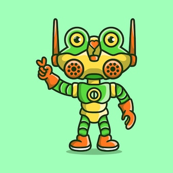 Robot grenouille mignon avec signe de main amour paix