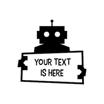 Robot holding text sign paper cyborg logo automatique vector icon illustration