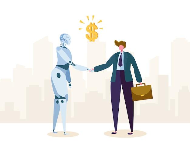 Robot et homme d'affaires concluent un accord de partenariat par poignée de main