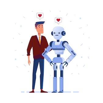 Robot et humain amoureux.