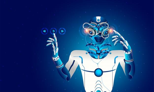 Robot humanoïde écoutant de la musique.